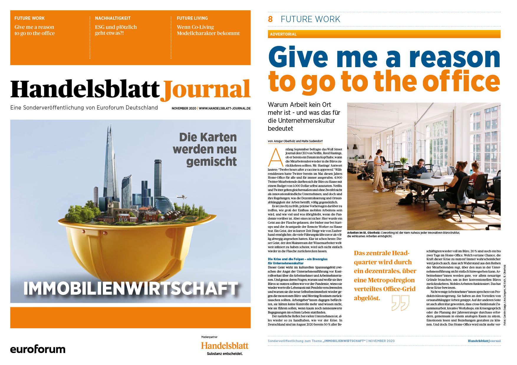 St. Oberholz im aktuellen Handelsblatt Journal